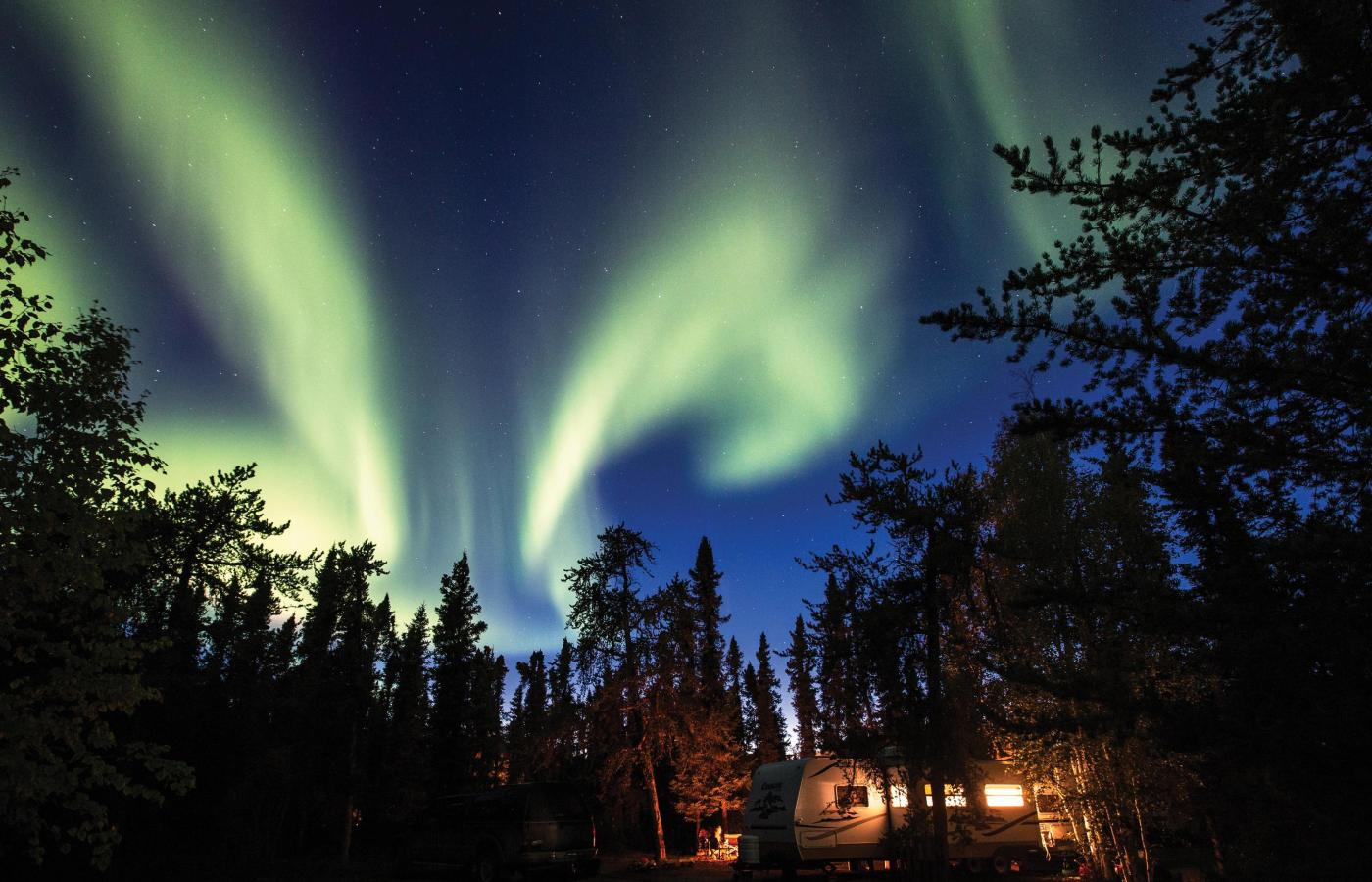 fall aurora camping with rv