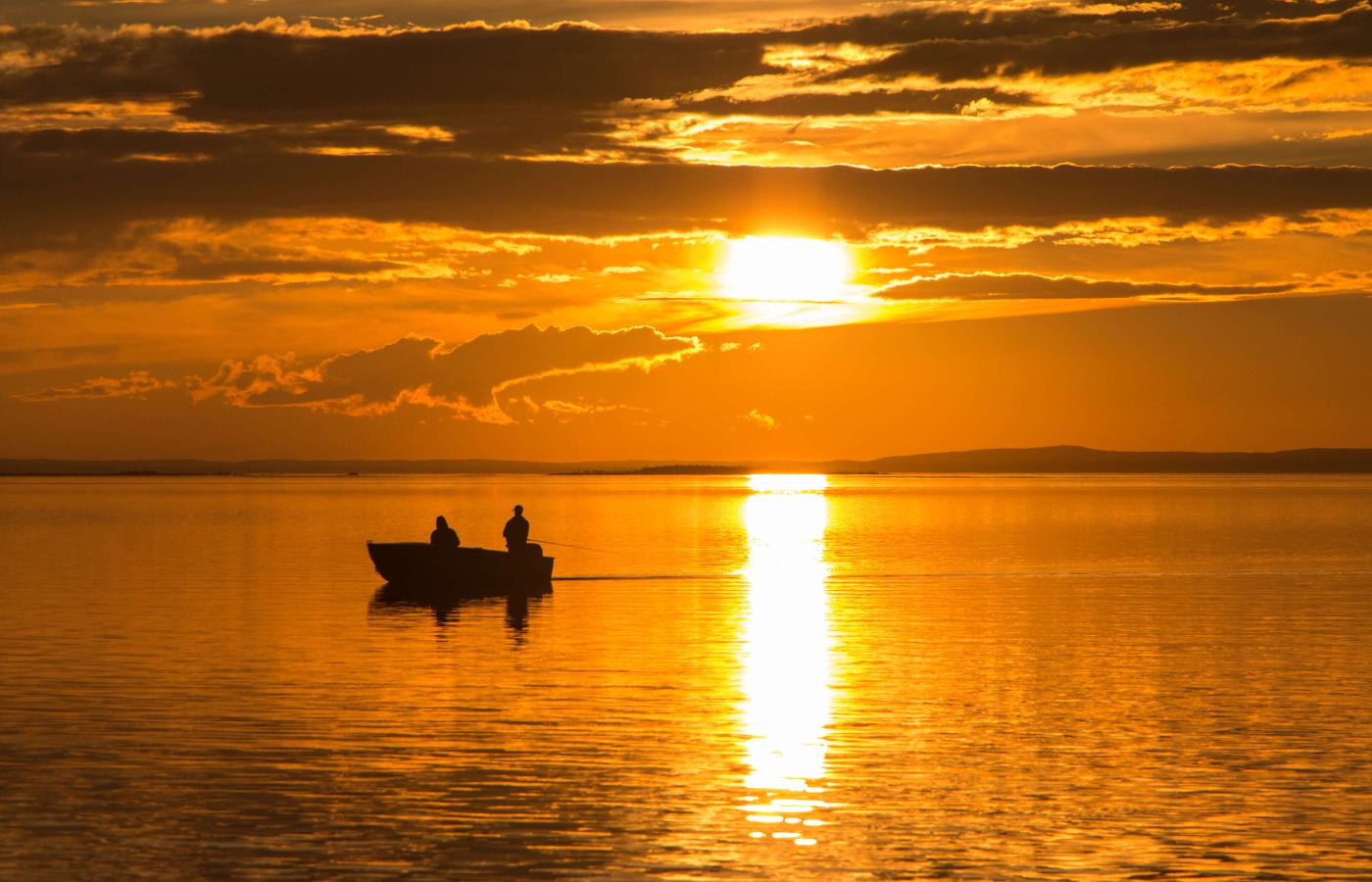 Fishing under the midnight sun on Great Slave Lake