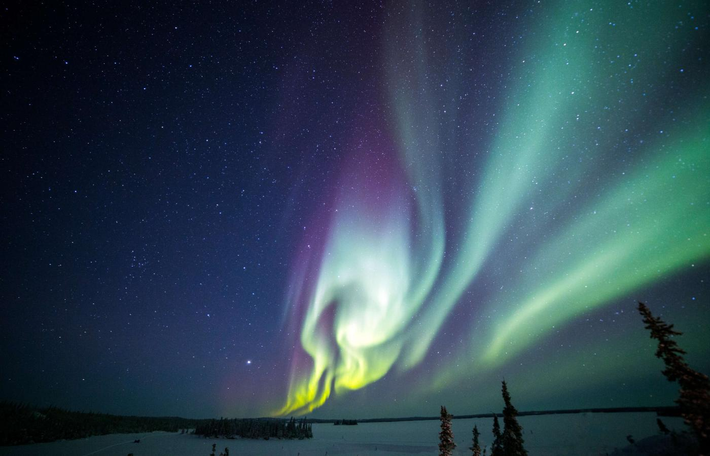 Aurora Northern Lights outside Yellowknife, NWT